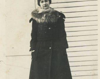 vintage photo Irene Long Wool Coat Fur Trim Collar on Steps