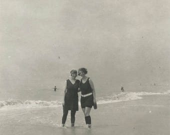 vintage photo Long Island New York Bathing Beauties at Beach edge in Swimsuits