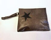 "Brown leather pouch, handheld leather pouch with black star, Brown and black purse, brown varnished leather purse, MALAM, 8x6"" - 20x16"