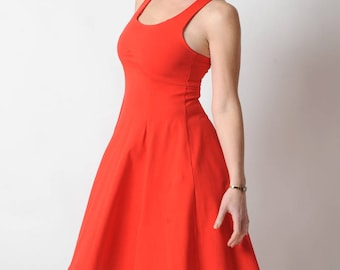 Red jersey dress, Red cotton dress with crossed straps in the back, Red womens dress, Sleeveless red dress, High waist dress, Summer fashion
