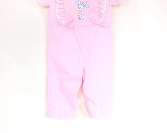 Vintage Baby Girl Romper / Vintage Baby Girl Pink Bunny Pantsuit / Vintage Baby Girl One Piece / 3-6 Months
