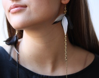 Black and White. Gold Delicate Earrings. Gold Dangle Feather Earrings. Feather Jewelry. Coral Feather Earrings