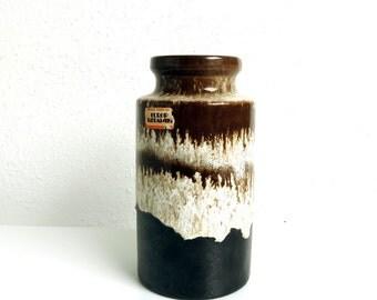 Vintage West Germany Pottery Vase - 203-18 Scheurich Europ Keramik - W German Drip Glaze Fat Lava Ceramics Dark Coffee Brown Tan