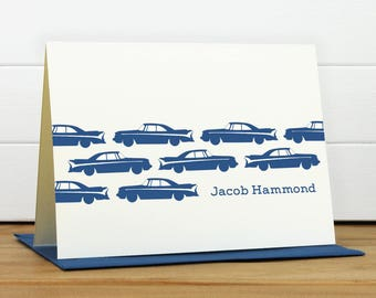 Personalized Stationery Set / Personalized Stationary Set - AUTO Custom Personalized Note Card Set - Masculine Children's Boy Baby