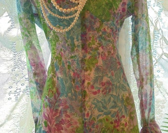 Floral maxi dress  vintage cotton boho gypsy festival wedding bridesmaid small from vintage opulence on Etsy