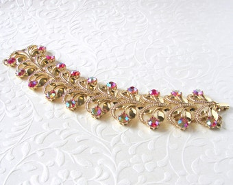 Brilliant Red Aurora Borealis Rhinestone Bracelet Classic Vintage AB Costume Jewelry Gold Scroll Cuff Formal Bridal Wedding Pageant Ballroom