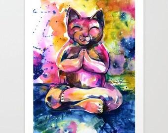 "Buddha Cat Zen art Painting, Large Giclee Print,  ""Buddha Cat 11"" Original by Kathy Morton Stanion  EBSQ"