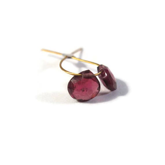 Two Rhodolite Garnet Beads, Matched Pair of Heart Shaped Briolettes for Making Jewelry, 5mm x 5mm Natural Gemstones (PT-Rh1)