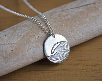 Silver Ocean Wave Necklace Handmade Original Design Sea Wave Pendant Recycled Silver Surfer Nautical Simple Sterling Argentium Chain #17486