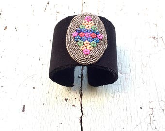 Black Adjustable Cuff with Vintage Floral Beading