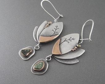 Handmade Lucid Dream Earrings with Rose Gold, Michigan Greenstone, Rustic Cognac Diamonds