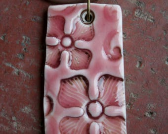 Pink Flowers on Porcelain Pendant