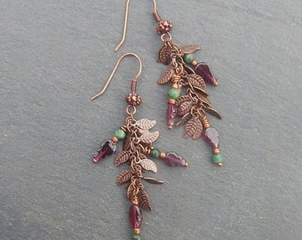 Fall Leaf Earrings with Raw Emerald and Garnet - Falling Leaves, Autumn Vines in Antique Copper
