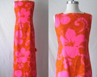 Hawaiian Dress 70s Maxi Dress Vintage Neon Pink + Orange Floral Dress
