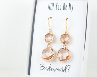 Long Peach Gold Earrings, Blush Gold Drop Earrings, Champagne Gold Earrings, Bridesmaid Earrings, Bridesmaid Gift, Wedding Jewelry