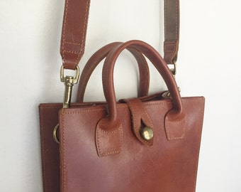 Tannery - Vintage Brown Leather Tote Purse.