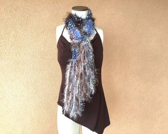 Mom Gift Blue and Brown Scarf with Cream.  Sparkle Threads, Shiny Brown and Blue Scarf with Black and White Accents