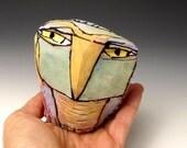 "Owl, Owl art, Clay owl, clay sculpture, joyful OOAK, ""Owl Dreaming into Being"", 3-5/8"" tall"