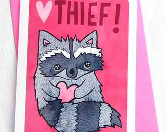 Heart Thief Raccoon - Valentines day card funny love card boyfriend card husband card for girlfriend anniversary card gift for her