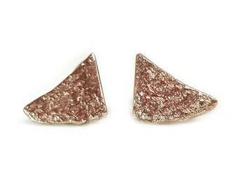 Bronze Triangle Earrings - Triangle Earrings - Rustic Earrings - Bumpy Earrings - Concrete Texture - Gifts Under 25 - Made In Brooklyn