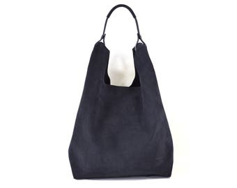 Bonnie - Handmade Navy Blue Suede Leather Shopper Carrier Bag SS17