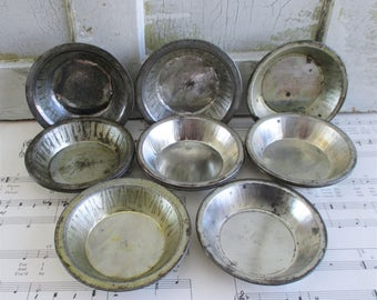 Twelve Little Vintage Tin Tart Pans