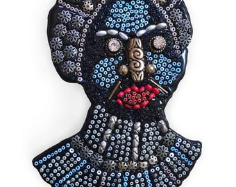 Folk Art Bead Royal Woman Fine Art Wall Sculpture Assemblage
