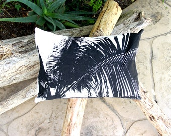 Baja Beach Throw Pillow - Black & White Palm - Palm Frond - Bojo Beach Decor - Beach Cottage Decor