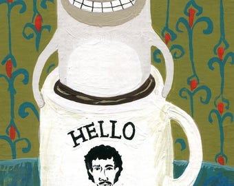 Original Siamese Cat Art Painting - Hello, Is It Me Youre Looking For? - Whimsical Funny Coffee Mug with Cat n Sugar Cubes, Green n Teal