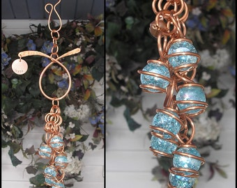 Wind Chimes Glass & Copper Windchime Garden Art Suncatcher Yard/Lawn/Outdoor Decor