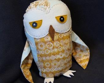 Snowy Owl plush fabric sculpture pale blue mustard ochre owl plushie