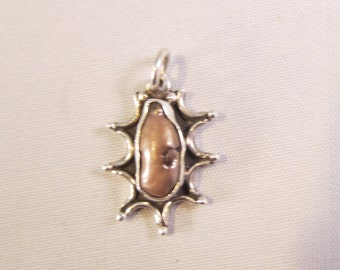 Vintage Modernist Sterling Silver and Blister Pearl Pendant     0902