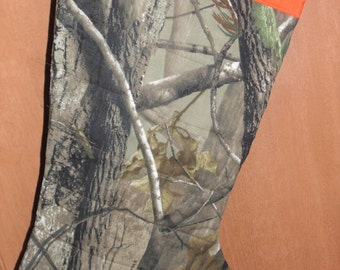 Oversized Christmas Stocking Real tree woods Hanging Quilted Hunting Nature Free Personalization