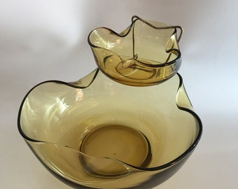 Mid Century Chip and Dip Appetizer Snack Server Tri Fold Amber Glass 1960's