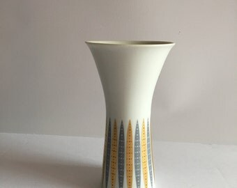 Furstenberg Germany Mid Century Bud Vase Porcelain White with Gold and Silver Op Art Design