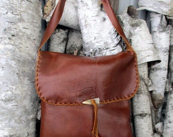 Rustic Leather Bag in Chestnut Brown with Deer Antler Tip - Lacing - Handmade - Artisan