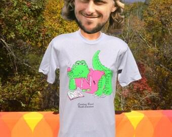 vintage 80s tee izod lacoste alligator gray CAROLINA BEACH neon t-shirt Medium Large soft thin funny nc