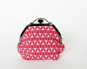 Cosmetic bag, red and white cotton safety pin fabric, cotton pouch