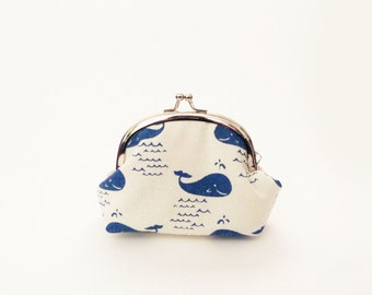 Coin purse, blue and white novelty whale fabric, cotton purse
