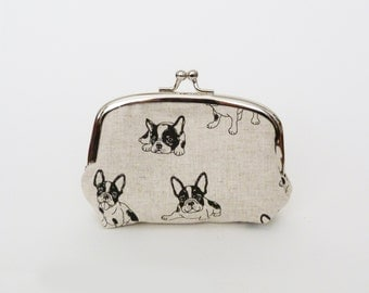 Coin purse, French Bulldog fabric, beige and black Boston Terrier design, cotton purse, credit card case, money pouch, change purse