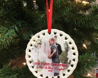 Custom Picture Ornament, Newlywed Ornament, First Christmas Ornament, Personalized Ceramic Photo Ornament --60029-OR84-601