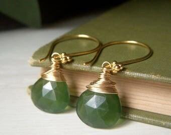 Vessonite Colored Earrings, Vesuvianite Color Earrings, Green Chalcedony Earrings, Wirewrapped Gemstone Briolette, Simple Teardrop Dangle