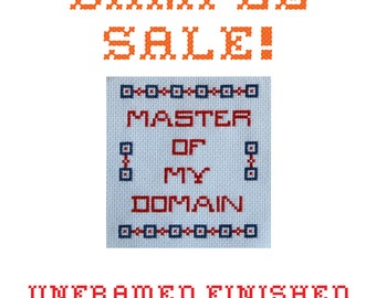 Sample Sale! Master Of My Domain - Seinfeld  -  Unframed Cross Stitch