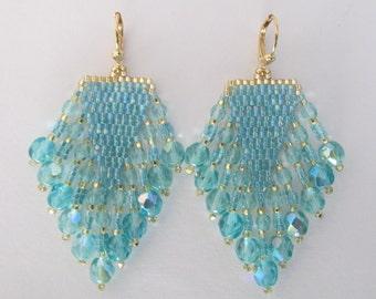Beaded Fringe Earrings - Aqua