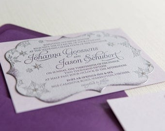 Wedding Stationery -- SAMPLE -- Johanna's Shades of Purple Snowflake Wedding Invitation