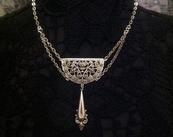 Renaissance Victorian Necklace Jewelry Downton Abbey  Victorian Vintage Old World Jewelry Silver Lace         by Red Gypsy Jewelry