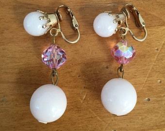 Vintage Dangle Earrings Bead Signed Dalsheim Pink Crystal Clip back Spring Wedding Bride 1960s