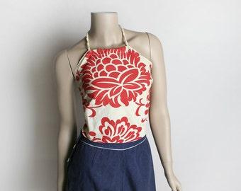 Vintage Bandana Top - 1970s Floral Print Hawaiian Style Halter Top - Rope Tie - Rockabilly VLV Tiki - Small