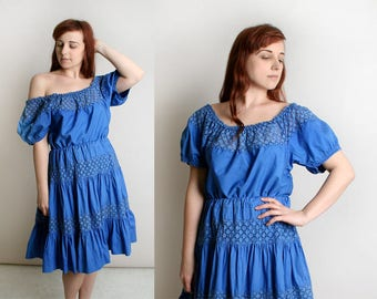 Vintage 1950s Blouse & Skirt Set - Royal Blue Mexican Style Ethnic Senorita Square Dance Style Cotton Outfit - Off Shoulder - Large