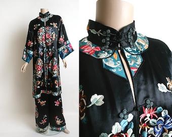 Vintage 1920s Chinese Pajamas - Silk Satin Black Heavily Embroidered Floral Medallions - Antique Lounge Pyjamas - Small Medium